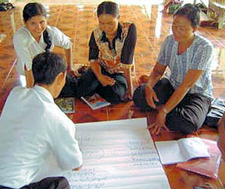 Teachers during an LVEP Training in Beantey Meanchey