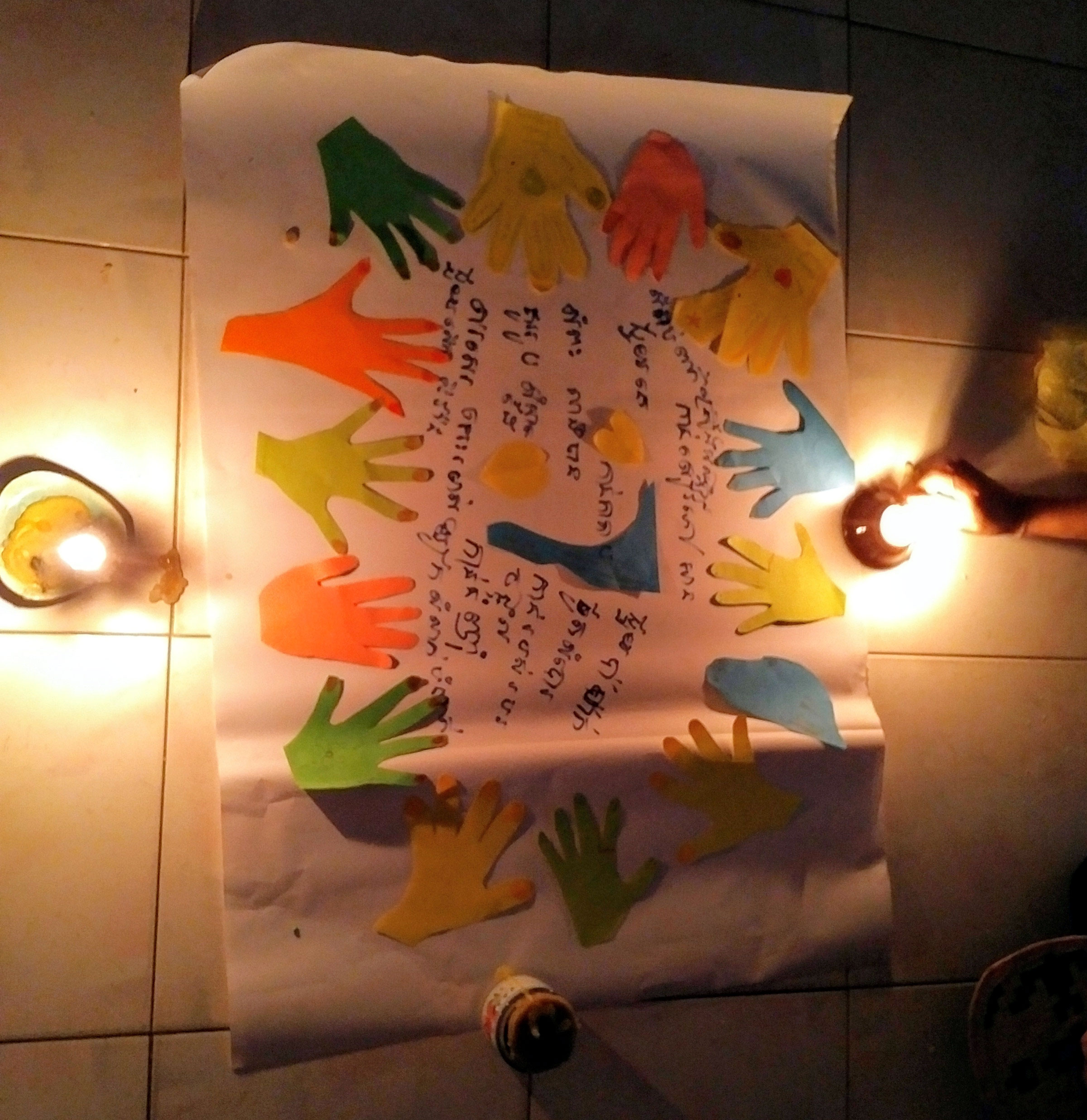Respect activity - hands are for. Participants were working under candle light when electricity was cut off.
